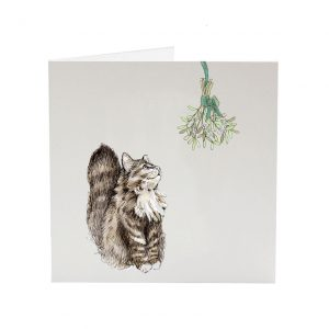 Bubbles the Cat Christmas greeting card for cat lovers
