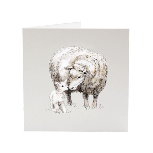 Lily the lamb greeting card by Sarah Jane Vickery