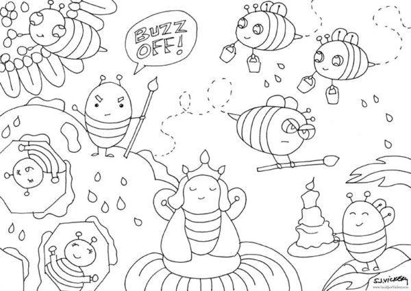 free colouring page for kids from cartoon club bees