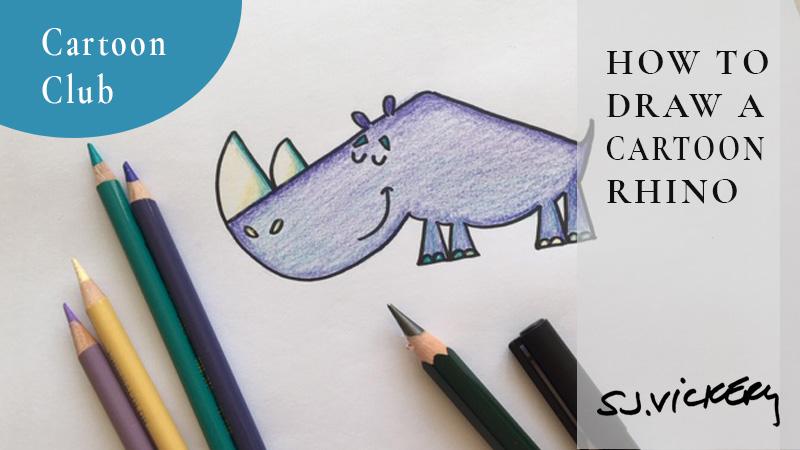 How to draw a cartoon Rhino