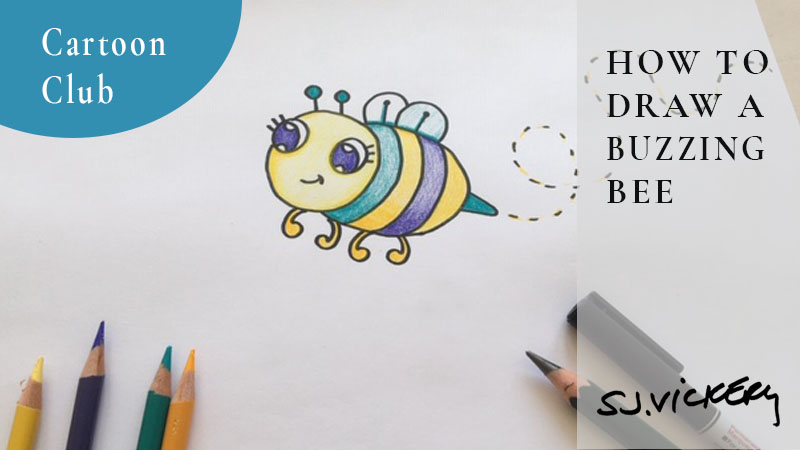How to Draw a cartoon Buzzing Bee