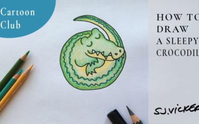 How to draw a sleeping cartoon Crocodile