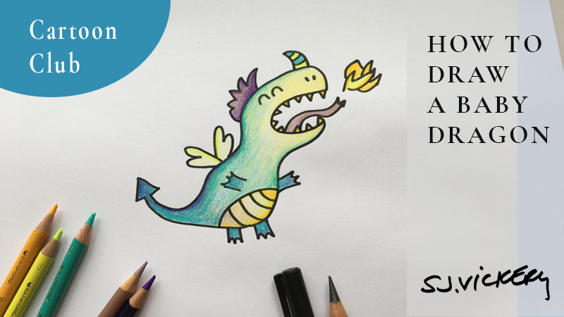 How to draw a cartoon baby Dragon and the creative concept of Potential