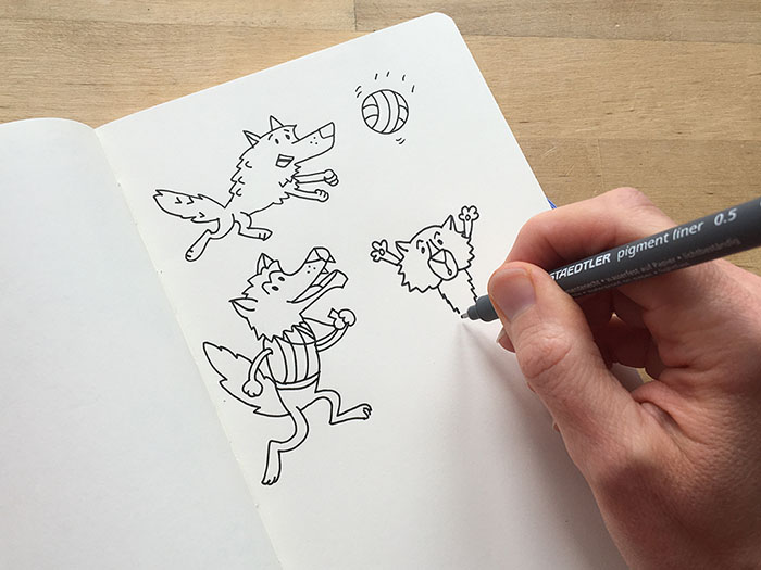 How Doodling helps to Slow Down your mind – a cartoon Wolf to the rescue!
