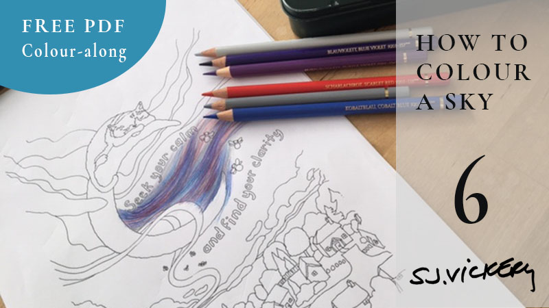 Colouring Tutorial 6 – How to blend a sky using Faber-Castell Polychromos – FREE PDF Veronica's Garden