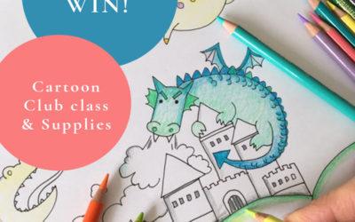 WIN a FREE Cartoon Club for Kids online art class, Sketchbook, Pen, Pencil set from Pullingers Art Shop!