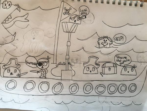 Cartoon club game drawing